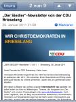 Der fertige neue Newsletter der CDU Brieselang